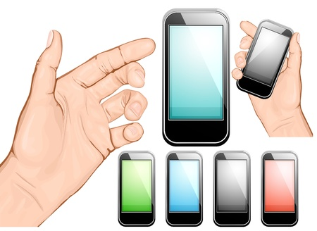 mobile phones: Hand holding mobile phone. Vector illustration. All main elements are on separate layers and can be edited as required
