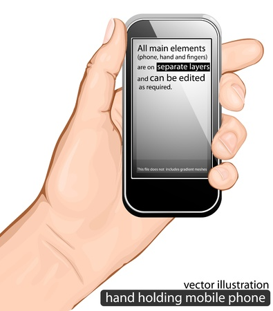 cellphone in hand: hand holding mobile phone. vector illustration Illustration