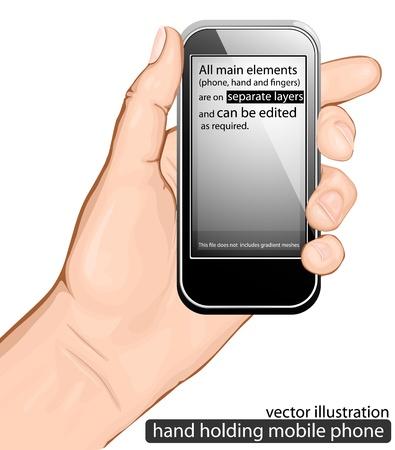 man on cell phone: mano con tel�fono m�vil. ilustraci�n vectorial Vectores