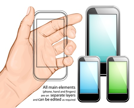 Hand holding mobile phone. Vector illustration. All main elements are on separate layers and can be edited as required Stock Vector - 10882342