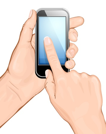 cellphone in hand: Hand holding cellular phone and touching the screen. vector illustration.  All main elements are on separate layers and can be edited as required