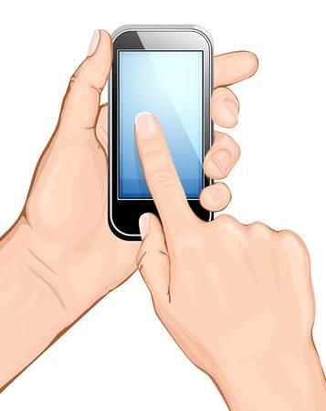 Hand holding mobiele telefoon en het scherm aan te raken. vectorillustratie.  Alle belangrijkste elementen zijn op afzonderlijke lagen en kan worden bewerkt, zoals vereist