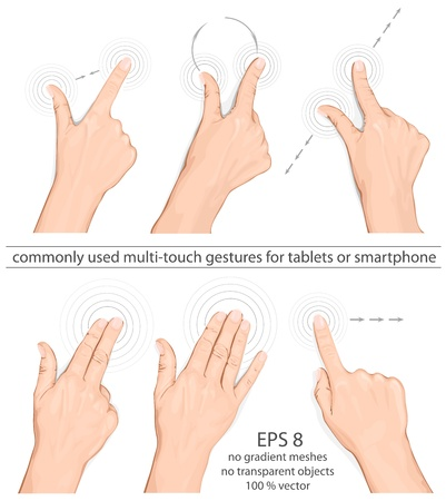 smartphone mano: Vector set di uso comune il multi-touch per le pasticche o smartphone Vettoriali