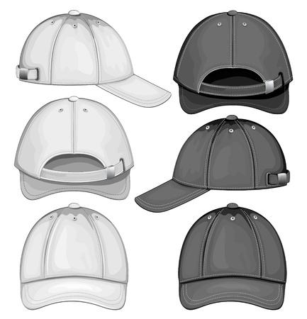 berretto: Illustrazione vettoriale di cappellino da baseball (vista frontale, posteriore e laterale) Vettoriali