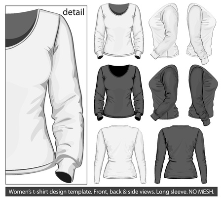 long sleeves: Vector. Women Illustration