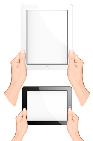 touch screen hand: Hand holding a touchpad pc (tablet). vector illustration