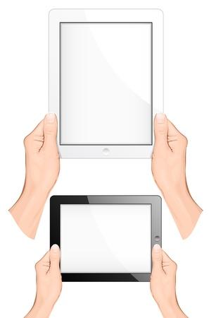 Mano in possesso di un pc touchpad (compressa). illustrazione vettoriale Vettoriali