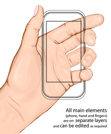 cellphone in hand: Hand holding mobile phone. Vector illustration. All main elements are on separate layers and can be edited as required