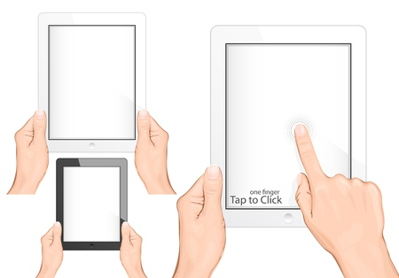 touch pad: Vector. Hand holding a touchpad pc (tablet). Tap to click gesture