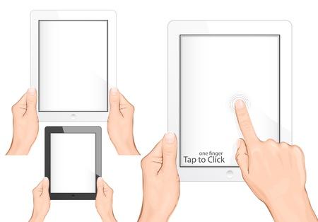 smartphone mano: Vector. Mano che regge un pc touchpad (compressa). Tocca per fare clic gesto Vettoriali