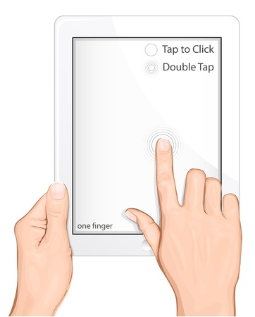 Vector multi-touch gesture for tablets & smartphone. Tap to Click. Double click Ilustração
