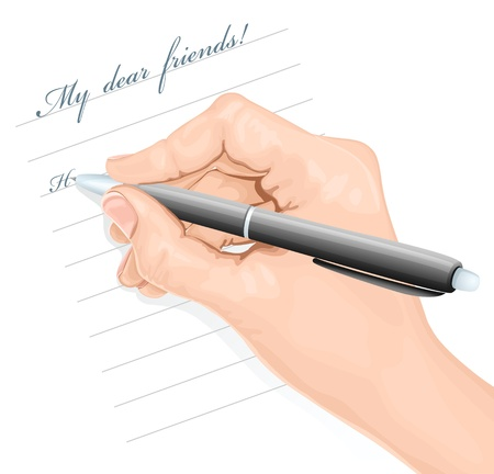 hand holding paper: Writing hand. vector illustration