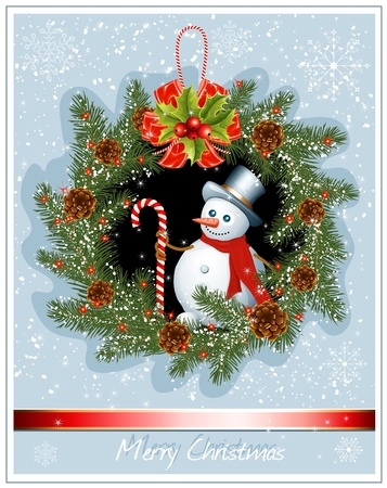 snow wreath: Christmas wreath with snowman on snow background. vector illustration Illustration