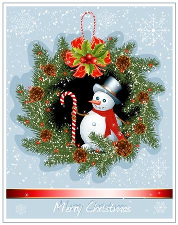 fir cone: Corona de Navidad con el mu�eco de nieve en nieve de fondo. ilustraci�n vectorial