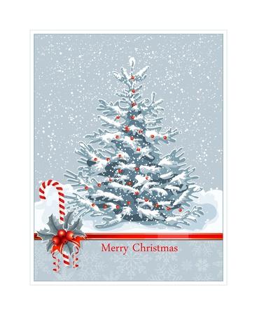 snow flake: Christmas tree and snow. christmas card. vector illustration
