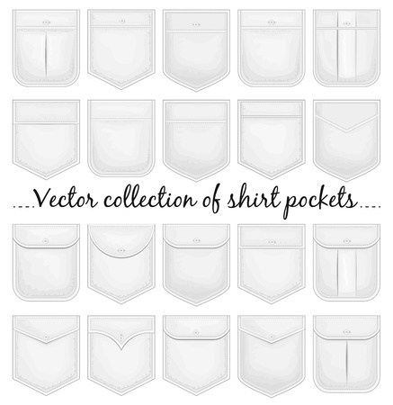 man t shirt: Vector collection of shirt pockets