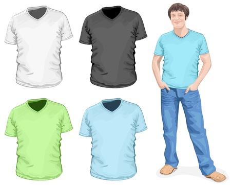 t shirt model: Vettoriali Men