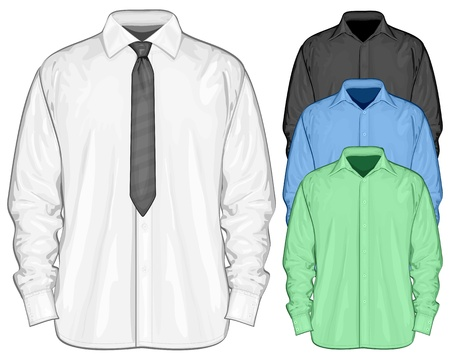 ankleiden: Vector Illustration Oberhemd mit Button-down-Krawatten Farbe Smokinghemd Frontansicht Illustration