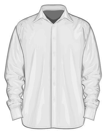 camicia bianca: Illustrazione vettoriale di vista frontale abito camicia button-down Vettoriali