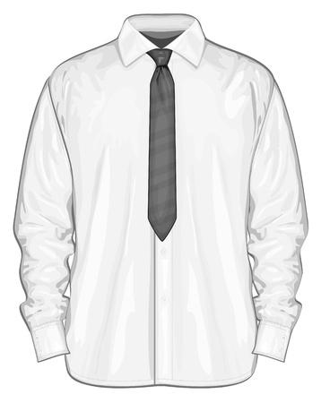Vector illustratie van de dress shirt button-down met stropdassen Vooraanzicht