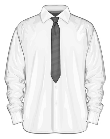 long sleeve: Vector illustration of dress shirt  button-down  with neckties  Front view