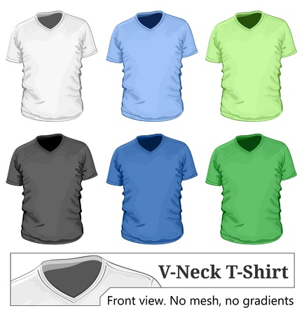 wear: Vector. Mens v-neck t-shirt design template (front view).