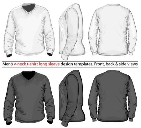 Vector. Heren V-hals lange mouw t-shirt design template (voor-, achter-en zijaanzicht). Stock Illustratie
