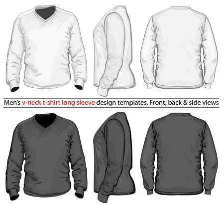 Vector. Men's V-neck long sleeve t-shirt design template (front, back and side view).  Vector