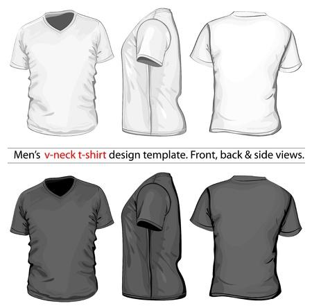 camisa: Vector. Los hombres con cuello en V t-shirt de dise�o de plantillas (vista frontal, posterior y lateral).