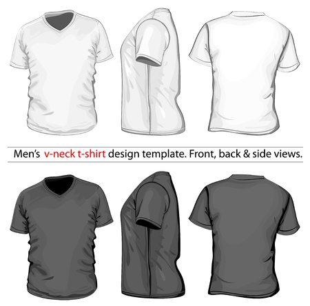 Vector. Mens V-neck t-shirt design template (front, back and side view).