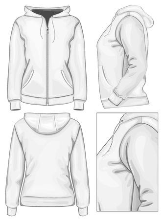 Vector. Hooded sweatshirt voor dames met rits (rug, voor-en zijaanzicht)