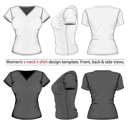 Vector. Dames v-hals t-shirt design template (voor-, achter-en zijaanzicht).