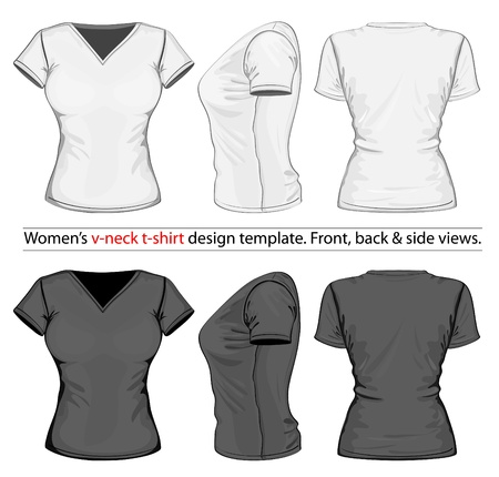 playera negra: Vector. Las mujeres con cuello en V de la t-shirt de diseño de plantillas (vista frontal, posterior y lateral).