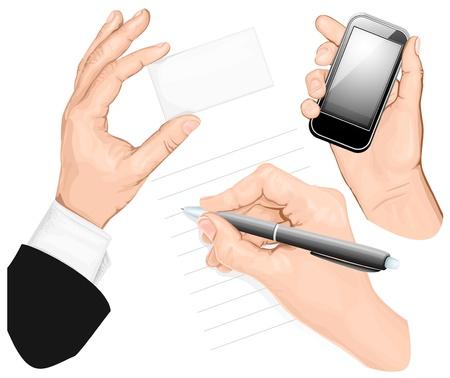 hand holding card: Set van handen: schrijf de hand, de hand houden Mobieltelefoon, hand die kaart. vectorillustratie