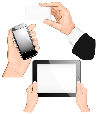 segurar: Set of hands holding business card, pc tablet,  mobilephone. vector illustration Ilustração
