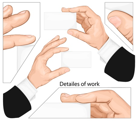 Set of hands holding blank business card. vector illustration Stock Vector - 13255867