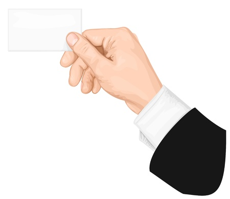 blank business card: Hand holding blank business card. vector illustration Illustration