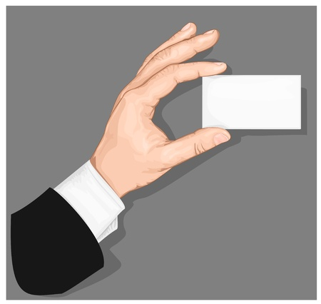 Hand holding blank business card with copy-space on gray background. vector illustration Stock Vector - 13255854
