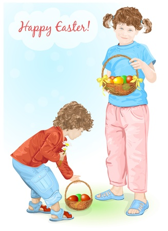 Happy Easter! Baby and little girl holding baskets with colour eggs. Vector illustration (no mesh) Vector