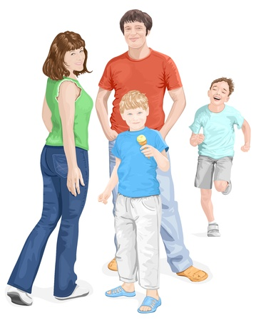 Happy family: mum, dad and sons. Vector illustration Vector