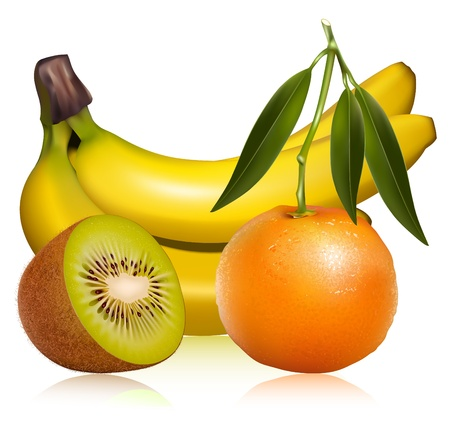 rinds: Photo-realistic vector of tropical fruits. Fresh tangerine fruits with green leaves, banana and ripe kiwi. Illustration