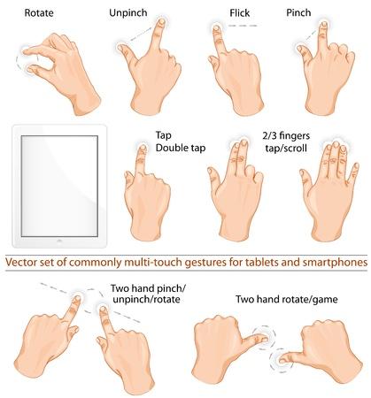 smartphone mano: Vector set di gesti multitouch comunemente utilizzati per compresse o smartphone.
