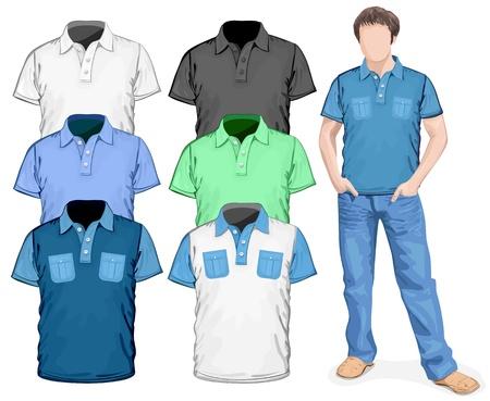 ポロ: ベクトル。メンズ ポロシャツのデザイン テンプレート (正面)  イラスト・ベクター素材
