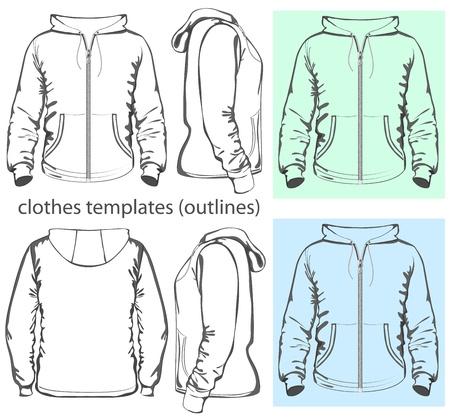 zipper hooded sweatshirt: Vector  Men