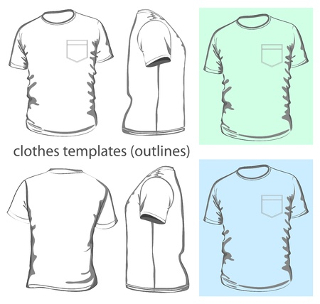 cloth back: Vector. Mens t-shirt design template (front, back and side view). Outline Illustration