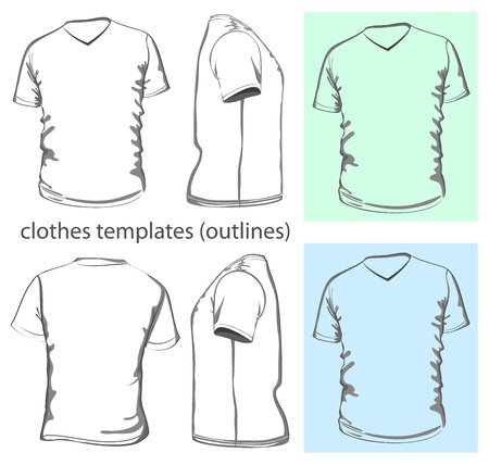 Vector. Men's t-shirt design template v-neck (front, back and side view). Outline Stock Vector - 15515461