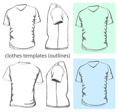 v neck: Vector. Mens t-shirt design template v-neck (front, back and side view). Outline