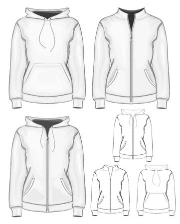 Vector woman sweatshirt (hoodie) design template. Иллюстрация