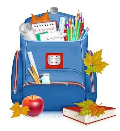 mochila escolar: Regreso a la escuela! Ilustraci�n vectorial de mochila con objetos educativos
