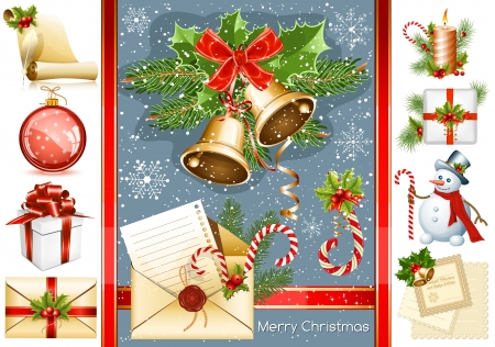 Big collection of Christmas objects. vector illustration Vector